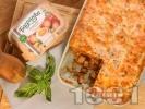Рецепта Вкусна класическа картофена мусака с кайма и заливка с яйца Багрянка
